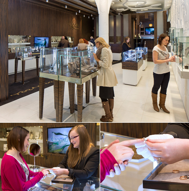 Customers in the Cardiff Clogau store