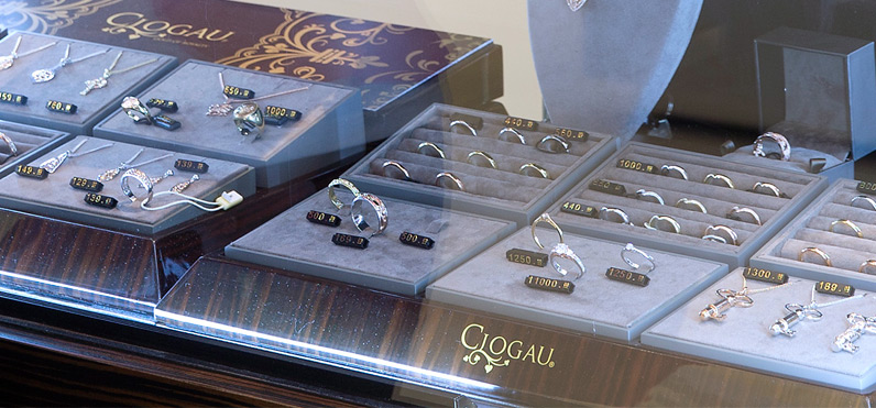 One of many jewellery displays at the Cardiff Clogau store