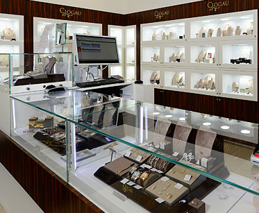 Display cabinets inside the Clogau Bridgend store